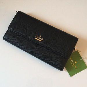 Kate Spade Black Pebbled Leather Wallet